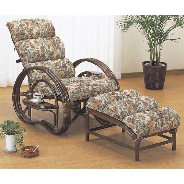 籐椅子 ラタン寝椅子 リクライニングチェア もこもこクッション付リラックスチェアー オットマン(足置き)付き A-220B