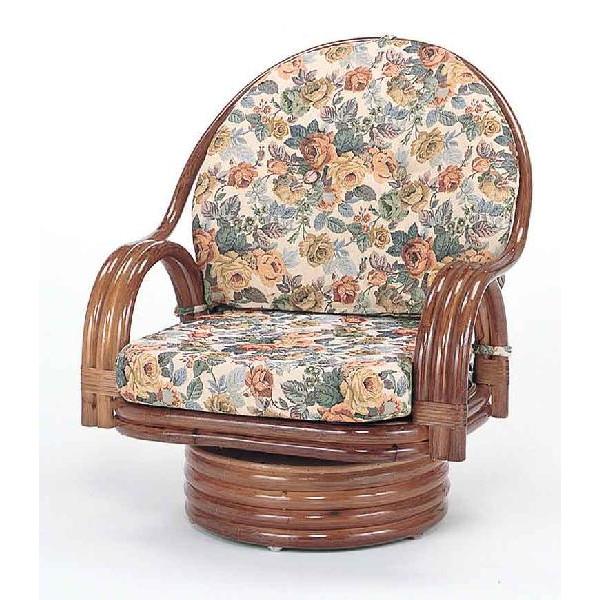 籐椅子 ラタンラウンドチェアーミドルタイプ回転式 ダークブラウン色 ザイス 座いす