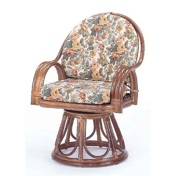 籐椅子 ラタンラウンドチェアーハイタイプ回転式 ダークブラウン色 ザイス 座いす