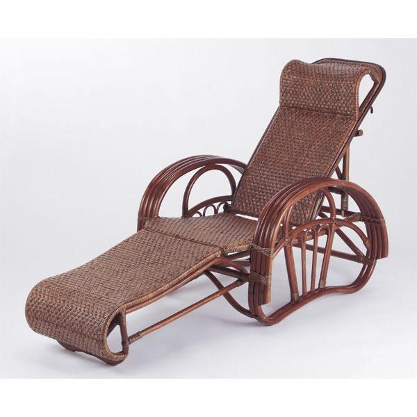 籐椅子 ラタン三つ折寝椅子 リクライニングチェア ダークブラウン色 C-106D