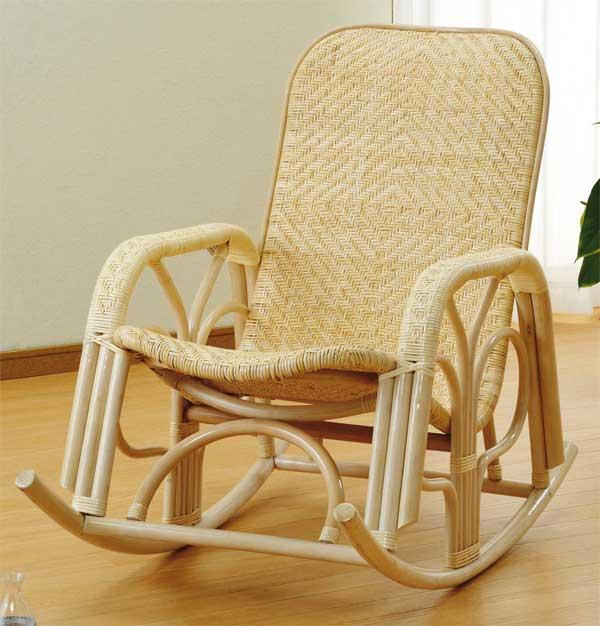 アジロ編み籐椅子 ラタンロッキングチェアー