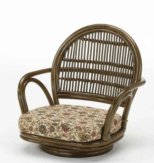 籐椅子 ラタンラウンドチェアーロータイプ 回転座椅子 ダークブラウン色 ザイス 座いす