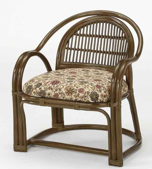 籐椅子 ラタンアームチェアーハイタイプ 籐座椅子 ダークブラウン色 ザイス 座いす