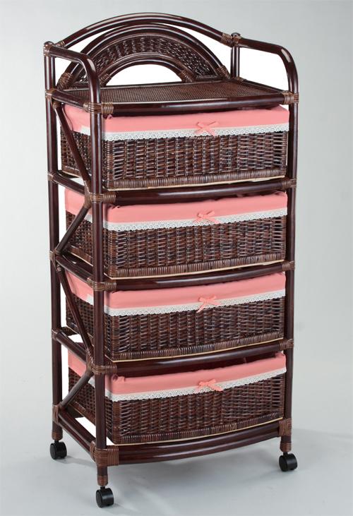 籐 ラタンチェスト ランドリー バスケットラック 57巾4段 ダークブラウン色