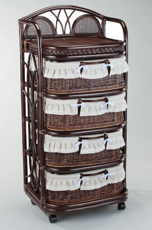 籐 ラタンチェスト ランドリー バスケットラック 58巾4段 ダークブラウン色