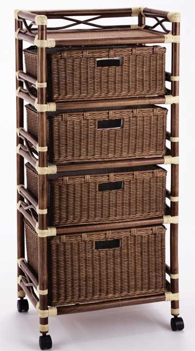 籐 ラタンチェスト ランドリー バスケットラック 50センチ巾4段 ダークブラウン色