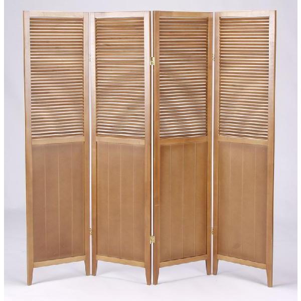 木製ルーバースクリーン 四枚折れ 2色対応