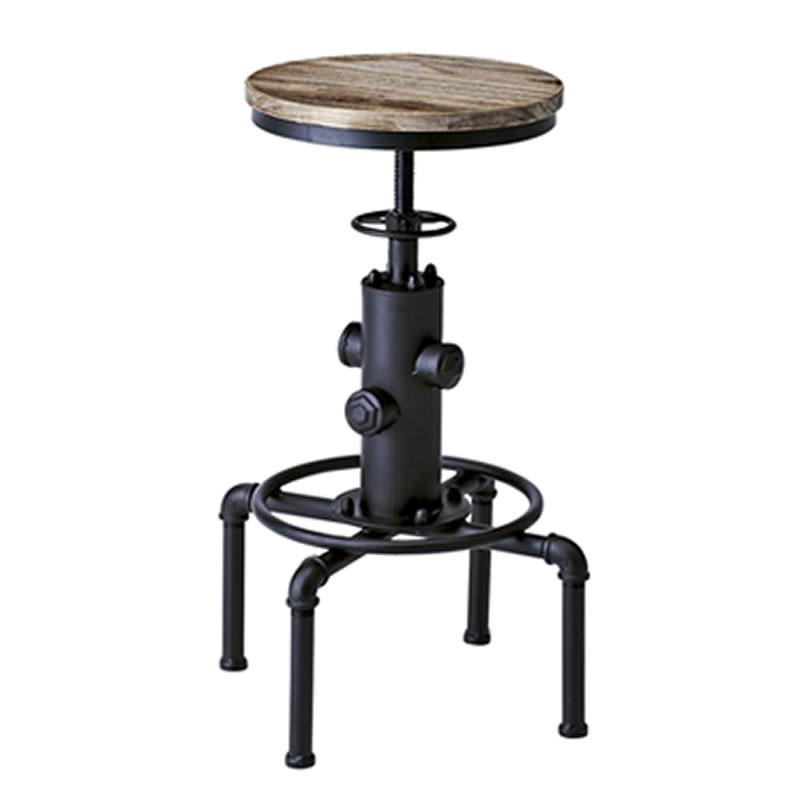 椅子/スツール バーチェア カウンターチェア ハイチェアINDUSTRIAL インダストリアルシリーズ ブラック色 KNC-A812