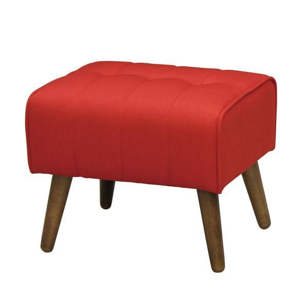 スツール オットマン(足置き) 布張りソファ クーパー レッド色 組立式