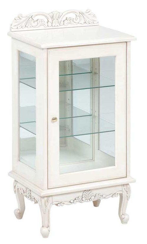 ガラスキャビネット50幅 ホワイト色 高さ96センチ