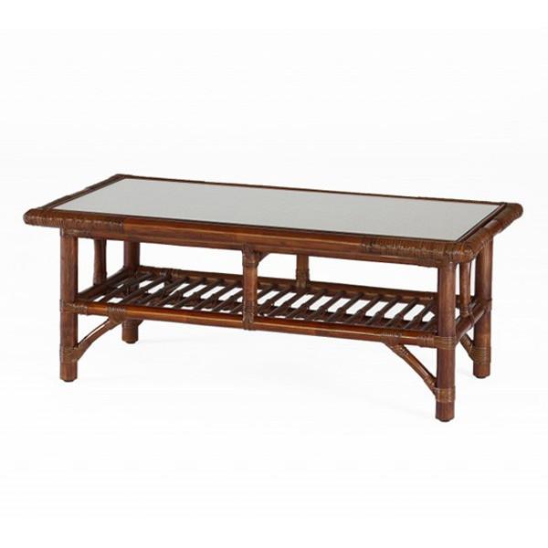 籐棚付センターテーブル ラタン90幅ガラステーブル ウォールナット色フレーム アジアンテイスト