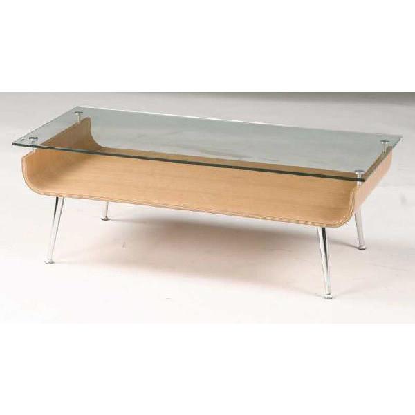 曲げ木ガラステーブル ナチュラル色
