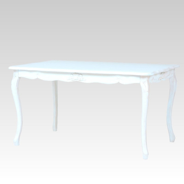 猫脚ホワイトダイニングテーブル 白色食堂テーブル 135センチ幅 アンティーク風 ロココ調デザイン 彫刻入り