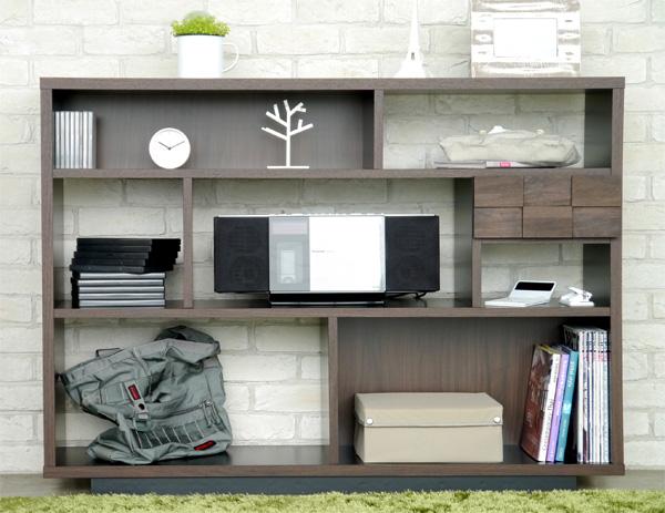 ハイタイプ木製テレビ台125センチ幅 モダン北欧デザイン 完成品 コルク125シェルフ