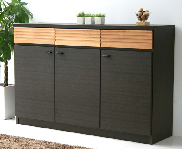 ハイタイプ木製テレビ台120センチ幅 モダン北欧デザイン 完成品 FE120サイドボード