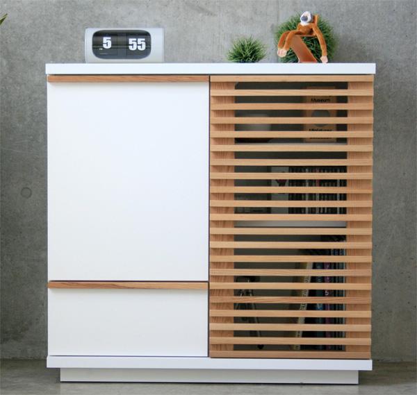 ハイタイプ木製テレビ台80センチ幅 ホワイト色モダン北欧デザイン 完成品 INAHO80キャビ いなほ