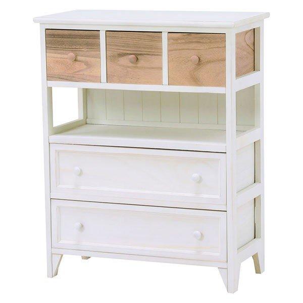 ホワイト色(白色)チェスト 60幅テレビ台  エレガントなデザイン 完成品