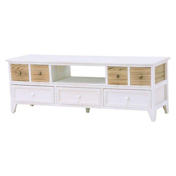 木製フレームロータイプテレビ台 115センチ幅 ウォッシュホワイト色
