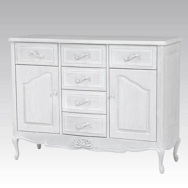 チェスト キャビネット 120幅4段6杯デザインキャビネット ドレッシーな猫脚 エレガントな花柄彫刻入り ホワイト色(白色) 完成品