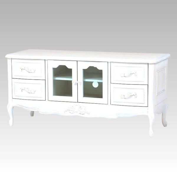 テレビ台 120幅ローボード ドレッシーな猫脚 エレガントな花柄彫刻入り ホワイト色(白色)完成品