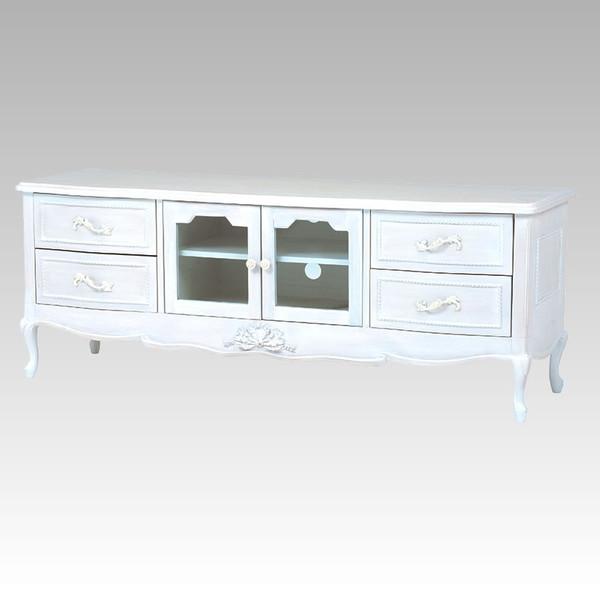 テレビ台 150幅ローボード ドレッシーな猫脚 エレガントな花柄彫刻入り ホワイト色(白色) 完成品