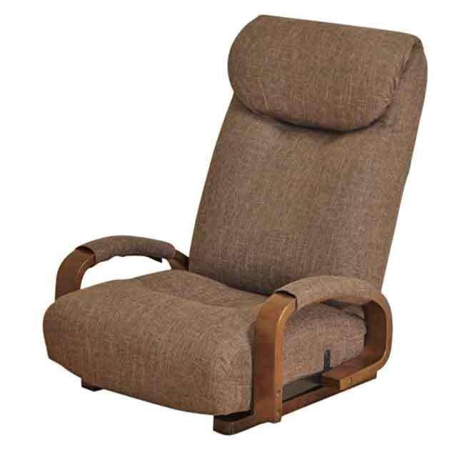 激安/新作 木製肘掛付回転座椅子 ハイバック座いす レバー式14段階リクライニング ファブリック張りザイス ブラウン(茶色), フェルマート 33dc79d7