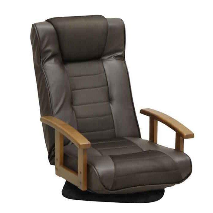 福袋 木製肘掛付回転座椅子 ハイバック座いす レバー式無段階リクライニング 合成皮革+メッシュ張りザイス ダークブラウン色(濃い茶色), APOA 4a33290e