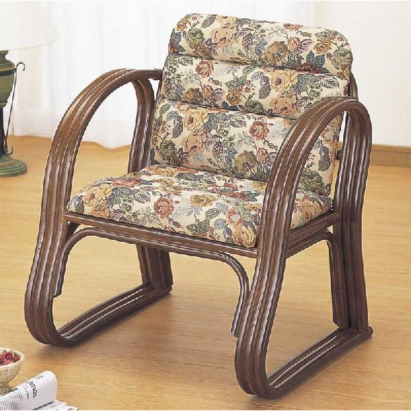 和風座いす 籐椅子 ラタンアームチェアー ミドルタイプ/座椅子 S-215B ザイス 座いす