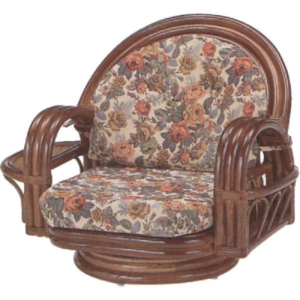 和風座いす 籐椅子 ラタンラウンドチェアーロータイプ回転式/座椅子 S331B ザイス 座いす