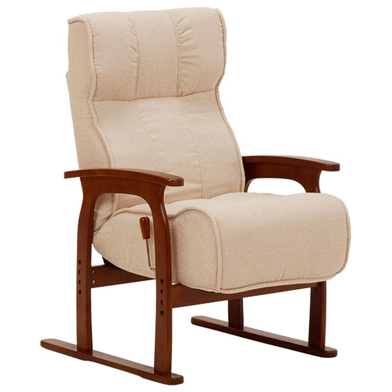 高座椅子 リクライニングチェア ポケットコイル仕様 布張り アイボリー色