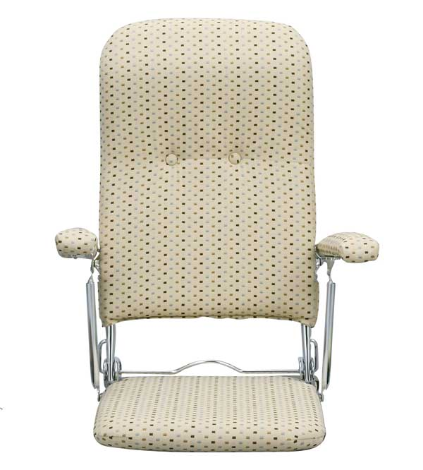 肘掛付き布張り折りたたみ座椅子(肘付き) ベージュ色 国産品 ザイス 座いす