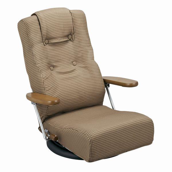 座椅子 肘付きリクライニング回転座いす YS-1300HR ブラウン色(茶色) ザイス 座いす