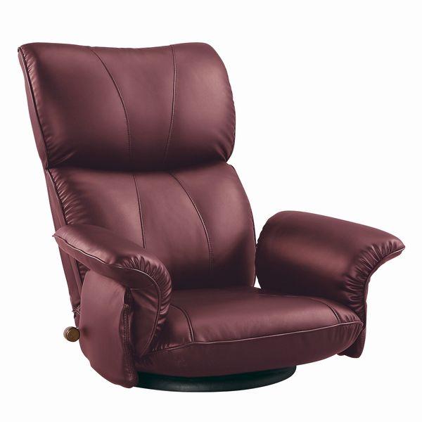 スーパーソフトレザー張り 肘付きリクライニング回転座椅子 匠(たくみ) YS-1396HR ワインレッド色 ザイス 座いす