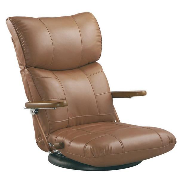 座椅子 座いす 完成品 木肘スーパーソフトレザー座椅子 蓮(れん) ブラウン色 YS-C1364 ザイス 座いす