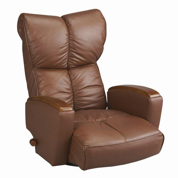 本革張り 肘付きリクライニング回転座椅子 風雅(ふうが) ブラウン色(茶色) ザイス 座いす