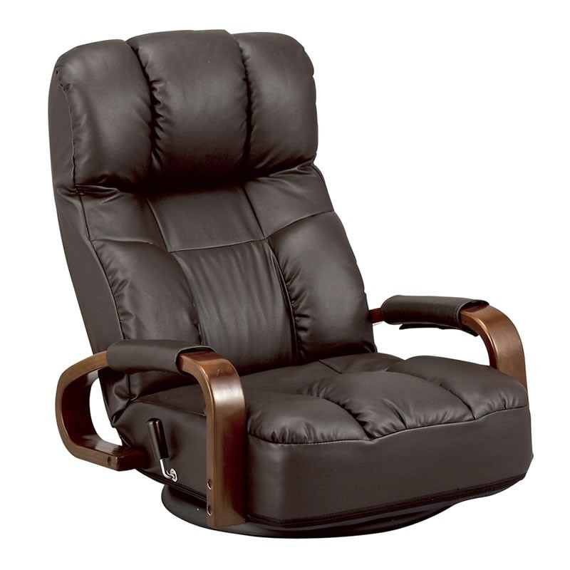 木製肘掛付回転座椅子 ハイバック座いす YS-S1495 レバー式無段階リクライニング(ヘッドレスト連動) 合成皮革張りザイス ダークブラウン色(濃い茶色)