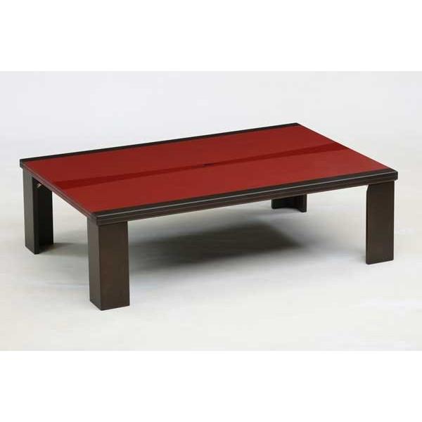 ローテーブル/モダン座卓 ちゃぶ台 120巾長方形 エレガンス レッド色 折れ脚