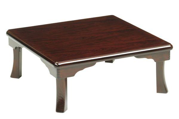 和風折れ脚座卓テーブル ちゃぶ台 80角、正方形 HIME(ひめ) 天然杢ブビンガ