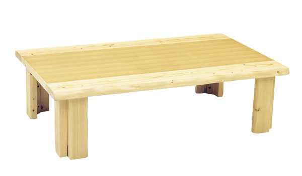 国産新和風折れ脚座卓テーブル ちゃぶ台 120巾長方形 ホープ ナチュラル色(ごく薄い茶色)