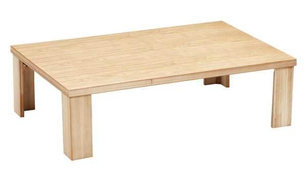 国産軽量シンプル折れ脚座卓テーブル ちゃぶ台 150巾長方形 恵(めぐみ) ナチュラル色(ごく薄い茶色)