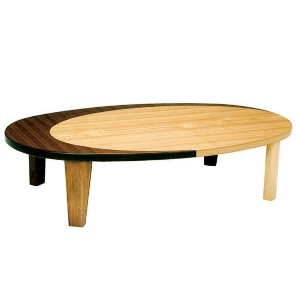 楕円折れ脚座卓 ローテーブル ちゃぶ台 120巾 KURAN-120 クラン