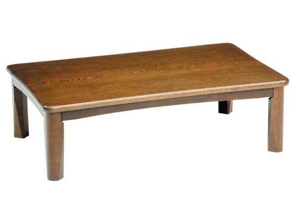 軽量折れ脚座卓テーブル ちゃぶ台 座敷机 天然杢タモ突き板 120巾 宮古ブラウン色