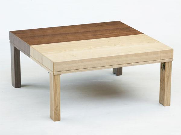 1台で2台に使える 折れ脚収納こたつテーブル 90角正方形 ツインズ