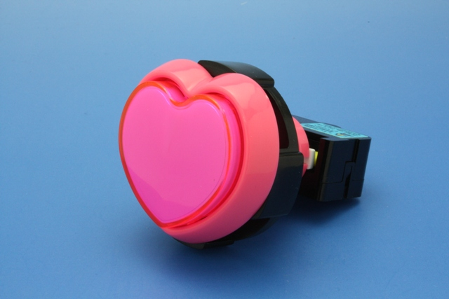 Illuminated type press ボタンピンクボディ 45 mm heart shaped lamp-holders 1 F (LED lamp)