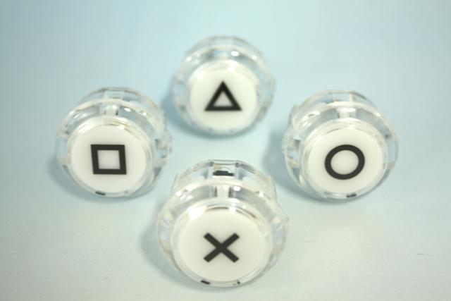 ハメ込み expression clear push buttons 30 mm print with (video game button size) 4 pieces 1 set