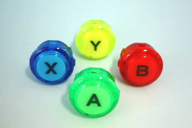 Fit; (video game button size) one set with 30 expression clear push button φ print with four