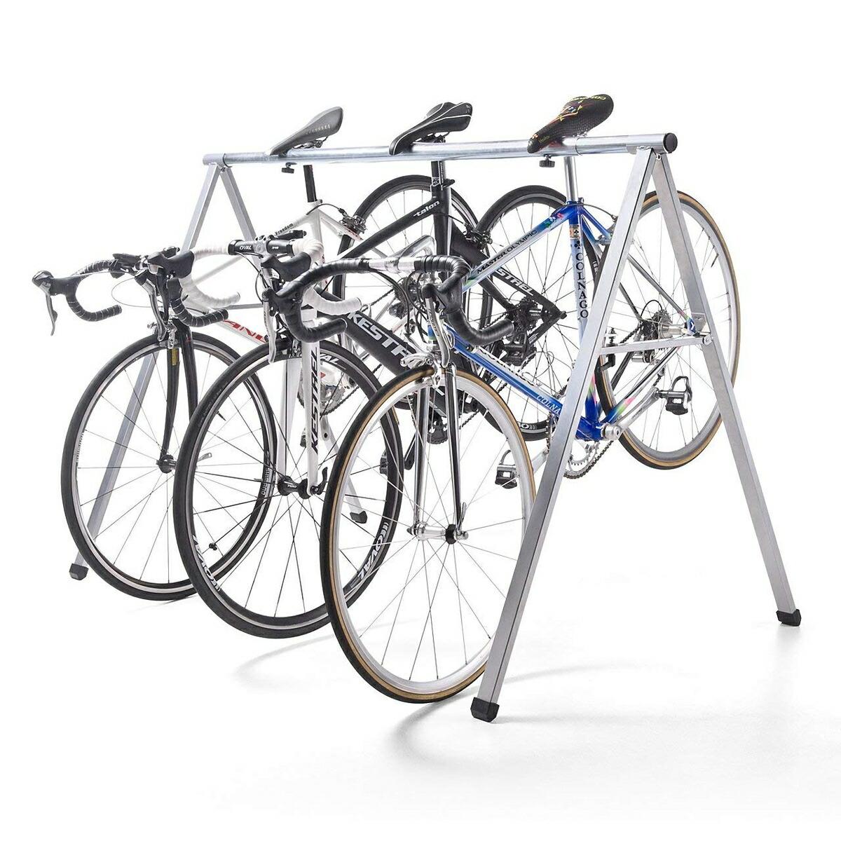 自転車スタンド 最大5台 レーススタンド 工具不要 サドル引掛け式 バイクスタンド バイクハンガー クロスバイク ロードバイク フレーム サイクル [800-BYST5]【サンワダイレクト限定品】【送料無料】