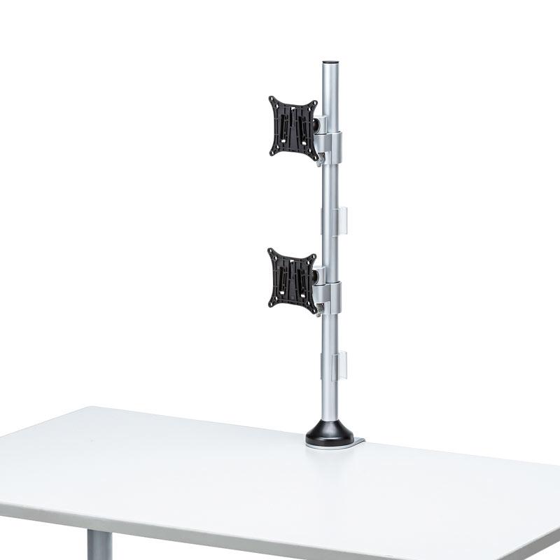 モニターアーム(水平多関節・クランプ式・ネジ固定・上下2面・H720mm・24インチまで・耐荷重8kg)