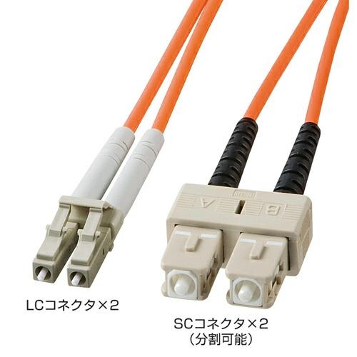 光ファイバーケーブル(コネクタ付き・LC・SC・50m・コア径50ミクロン)[HKB-LCSC5-50L]【送料無料】
