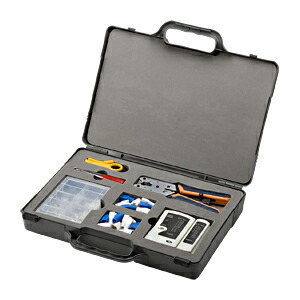 LANケーブル 自作用 工具キット 工具、コネクタ、テスター、収納ケース付き